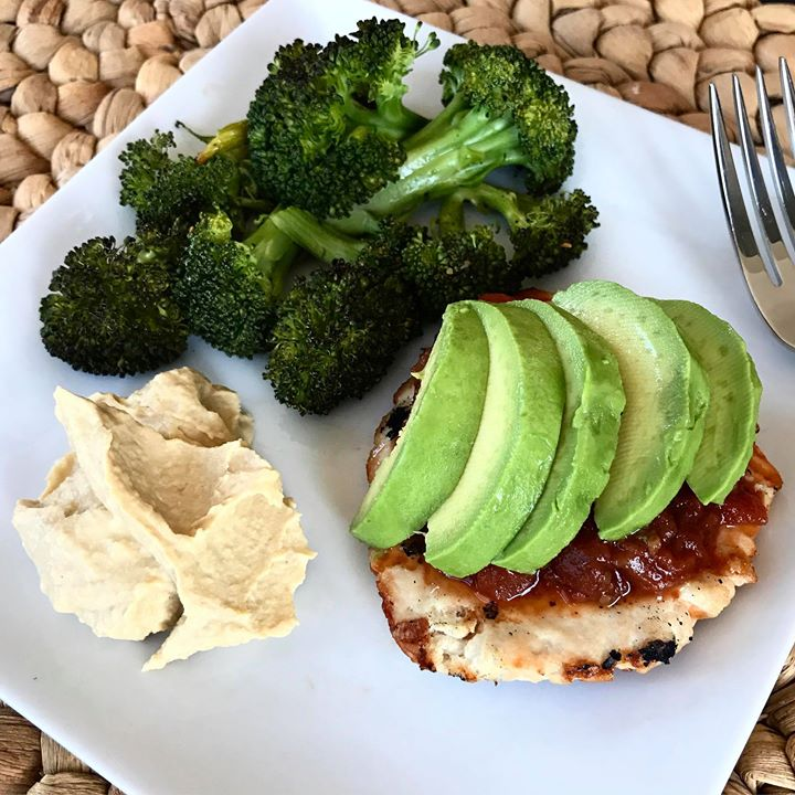 ... Blog / Grilled Turkey Burger with Salsa, Hummus and Roasted Broccoli