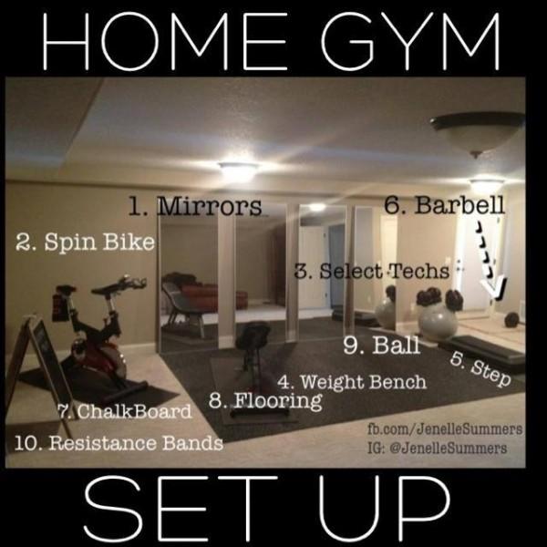 home gym set up jenelle summers. Black Bedroom Furniture Sets. Home Design Ideas